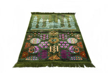 "Load image into Gallery viewer, Al Arabia Muslim Prayer Rug - Made from Embossed Velvet - Features Special Medina Design & Fringes On Both Sides - Portable Islamic Prayer Mat - Perfect Gift for Ramadan & Special Occasions, 44 x 27"", Green - MuslimPrayerRug"