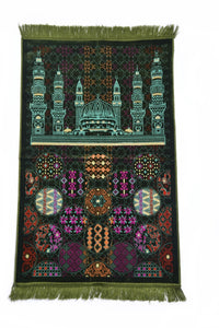 "Al Arabia Muslim Prayer Rug - Made from Embossed Velvet - Features Special Medina Design & Fringes On Both Sides - Portable Islamic Prayer Mat - Perfect Gift for Ramadan & Special Occasions, 44 x 27"", Green - MuslimPrayerRug"