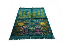 "Load image into Gallery viewer, Al Arabia Muslim Prayer Rug - Made from Embossed Velvet - Features Special Medina Design & Fringes On Both Sides - Portable Islamic Prayer Mat - Perfect Gift for Ramadan & Special Occasions, 44 x 27"", Turquoise - MuslimPrayerRug"