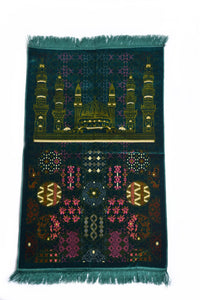 "Al Arabia Muslim Prayer Rug - Made from Embossed Velvet - Features Special Medina Design & Fringes On Both Sides - Portable Islamic Prayer Mat - Perfect Gift for Ramadan & Special Occasions, 44 x 27"", Turquoise - MuslimPrayerRug"