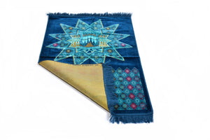"Al Arabia Muslim Prayer Rug - Made from Embossed Velvet - Features Star Kaaba Design & Fringes On Both Sides - Portable Islamic Prayer Mat - Perfect Gift for Ramadan & Special Occasions, 44 X 27"", Blue - MuslimPrayerRug"