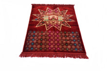 "Load image into Gallery viewer, Al Arabia Muslim Prayer Rug - Made from Embossed Velvet - Features Star Kaaba Design & Fringes On Both Sides - Portable Islamic Prayer Mat - Perfect Gift for Ramadan & Special Occasions, 44 X 27"", Red - MuslimPrayerRug"