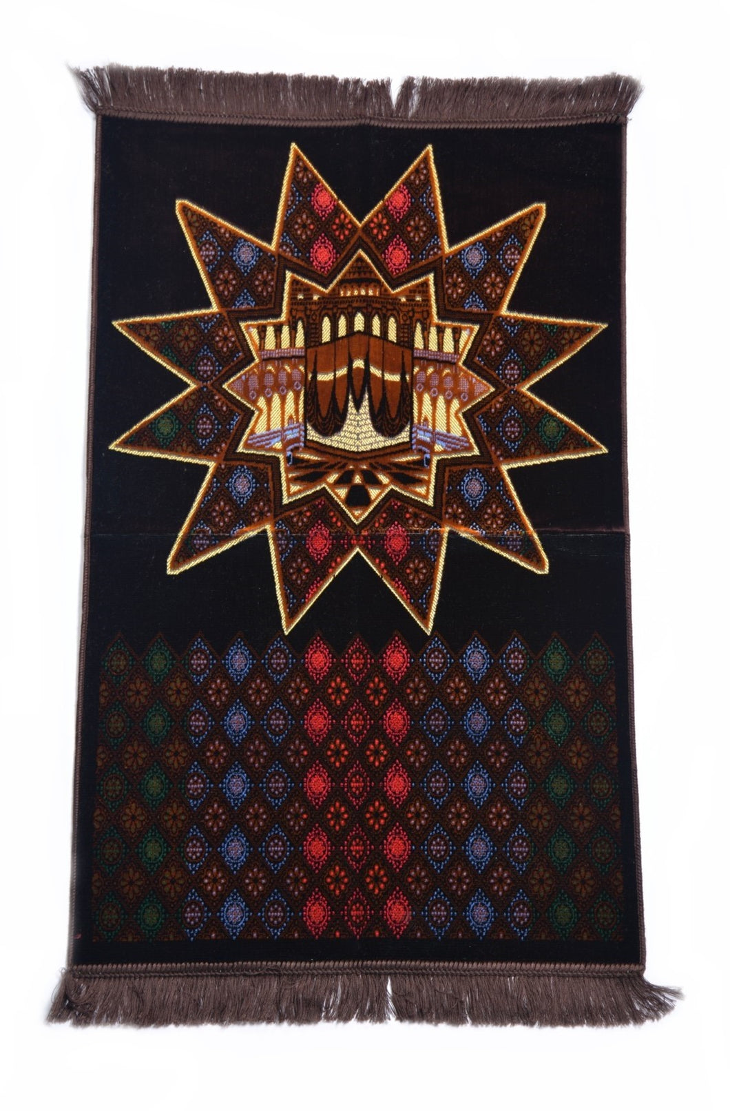 Al Arabia Muslim Prayer Rug - Made from Embossed Velvet - Features Star Kaaba Design & Fringes On Both Sides - Portable Islamic Prayer Mat - Perfect Gift for Ramadan & Special Occasions, 44 X 27