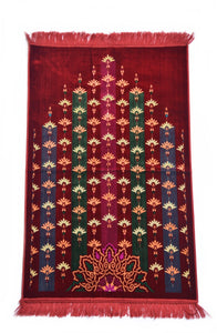 "Al Arabia Muslim Prayer Rug - Made from Embossed Velvet - Features Turkish Ethnic Design & Fringes On Both Sides - Portable Islamic Prayer Mat - Perfect Gift for Ramadan & Special Occasions, 44 x 27"", Purple - MuslimPrayerRug"