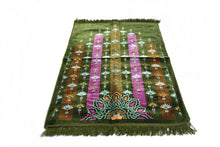 "Load image into Gallery viewer, Al Arabia Muslim Prayer Rug - Made from Embossed Velvet - Features Turkish Ethnic Design & Fringes On Both Sides - Portable Islamic Prayer Mat - Perfect Gift for Ramadan & Special Occasions, 44 x 27"", Green - MuslimPrayerRug"
