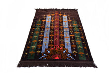 "Load image into Gallery viewer, Al Arabia Muslim Prayer Rug - Made from Embossed Velvet - Features Turkish Ethnic Design & Fringes On Both Sides - Portable Islamic Prayer Mat - Perfect Gift for Ramadan & Special Occasions, 44 x 27"", Dark Brown - MuslimPrayerRug"