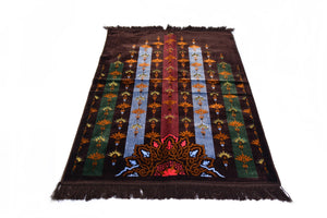 "Al Arabia Muslim Prayer Rug - Made from Embossed Velvet - Features Turkish Ethnic Design & Fringes On Both Sides - Portable Islamic Prayer Mat - Perfect Gift for Ramadan & Special Occasions, 44 x 27"", Dark Brown - MuslimPrayerRug"