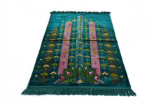 "Load image into Gallery viewer, Al Arabia Muslim Prayer Rug - Made from Embossed Velvet - Features Turkish Ethnic Design & Fringes On Both Sides - Portable Islamic Prayer Mat - Perfect Gift for Ramadan & Special Occasions, 44 x 27"", Turquoise - MuslimPrayerRug"