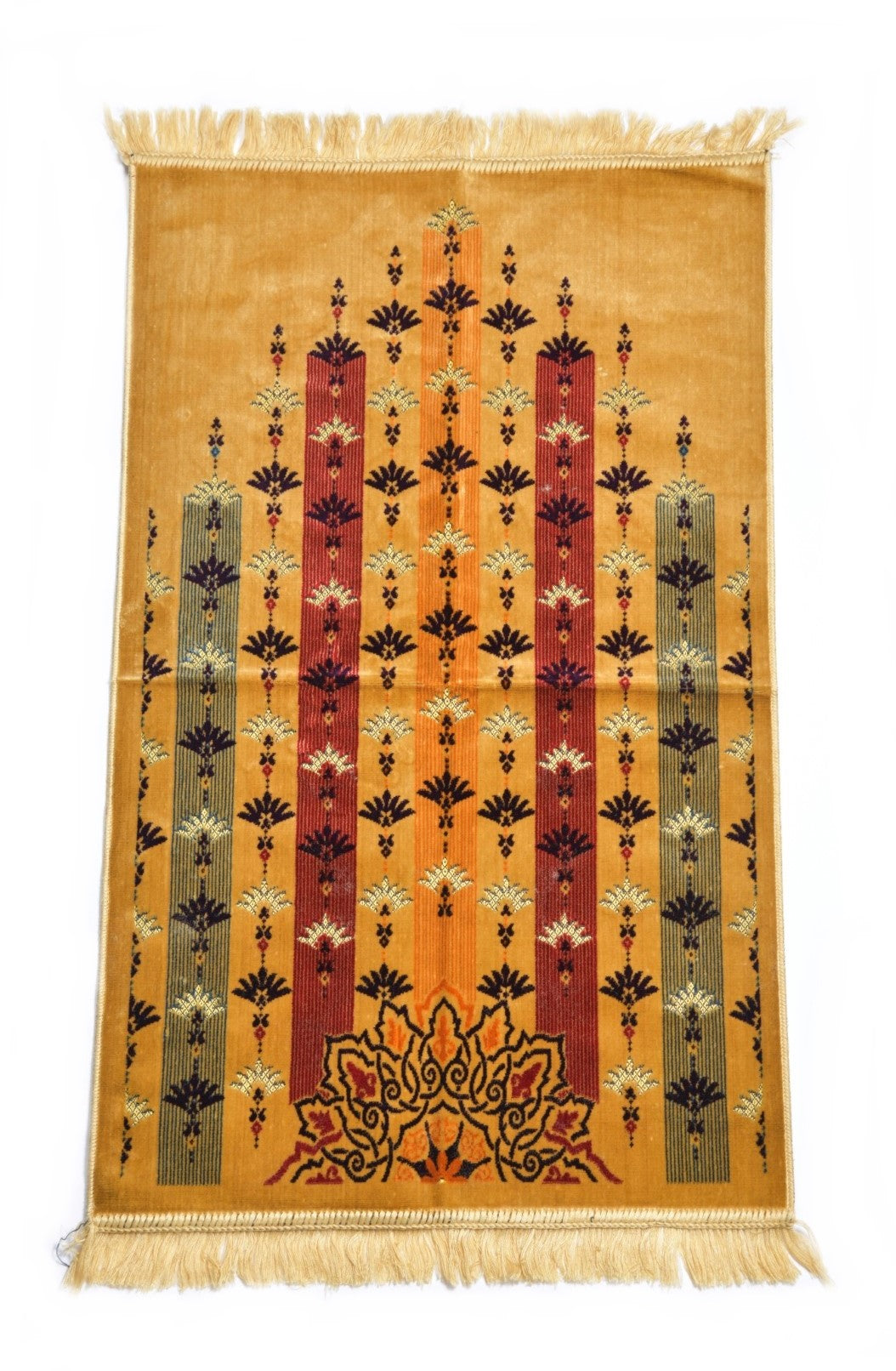 Al Arabia Muslim Prayer Rug - Made from Embossed Velvet - Features Turkish Ethnic Design & Fringes On Both Sides - Portable Islamic Prayer Mat - Perfect Gift for Ramadan & Special Occasions, 44 x 27