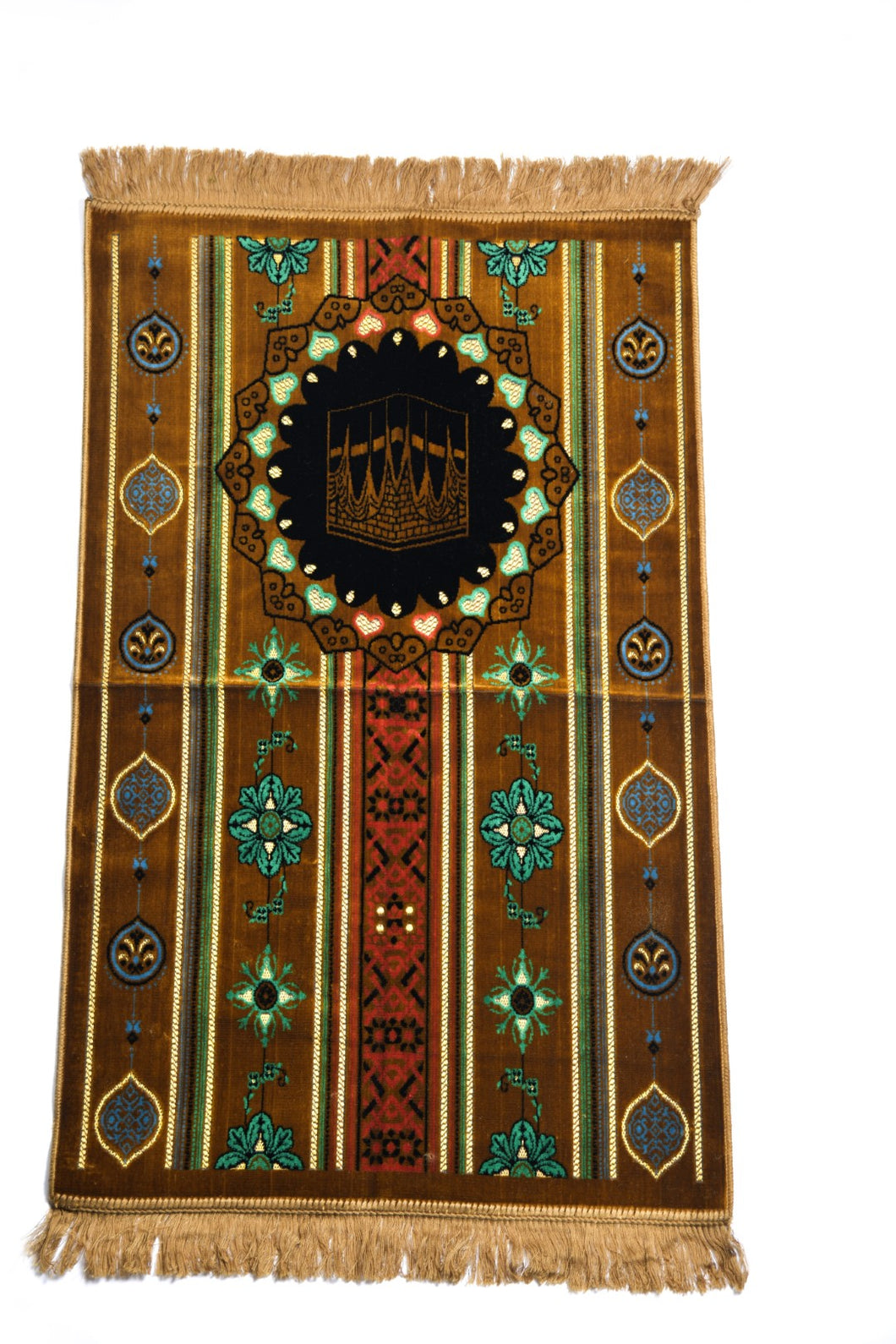 Al Arabia Muslim Prayer Rug - Made from Embossed Velvet - Features Kaaba Design & Fringes On Both Sides - Portable Islamic Prayer Mat - Perfect Gift for Ramadan & Special Occasions, 44 x 27