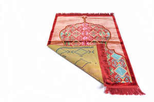 Al Arabia Muslim Prayer Rug - Made from Embossed Velvet - Features Minaret Design & Fringes On Both Sides - Portable Islamic Prayer Mat - Perfect Gift for Ramadan & Special Occasions, 110 x 70cm, Red - MuslimPrayerRug