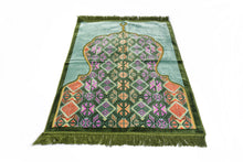 Load image into Gallery viewer, Al Arabia Muslim Prayer Rug - Made from Embossed Velvet - Features Minaret Design & Fringes On Both Sides - Portable Islamic Prayer Mat - Perfect Gift for Ramadan & Special Occasions, 110 x 70cm, Green - MuslimPrayerRug