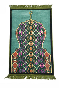 Al Arabia Muslim Prayer Rug - Made from Embossed Velvet - Features Minaret Design & Fringes On Both Sides - Portable Islamic Prayer Mat - Perfect Gift for Ramadan & Special Occasions, 110 x 70cm, Green - MuslimPrayerRug