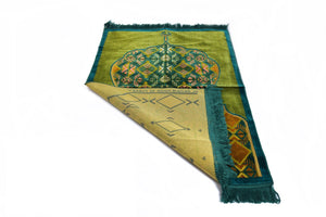 "Al Arabia Muslim Prayer Rug - Made from Embossed Velvet - Features Minaret Design & Fringes On Both Sides - Portable Islamic Prayer Mat - Perfect Gift for Ramadan & Special Occasions, 44 x 27"", Turquoise - MuslimPrayerRug"