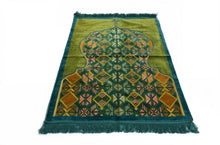 "Load image into Gallery viewer, Al Arabia Muslim Prayer Rug - Made from Embossed Velvet - Features Minaret Design & Fringes On Both Sides - Portable Islamic Prayer Mat - Perfect Gift for Ramadan & Special Occasions, 44 x 27"", Turquoise - MuslimPrayerRug"