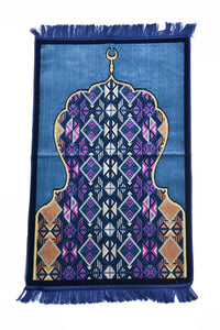 Al Arabia Muslim Prayer Rug - Made from Embossed Velvet - Features Minaret Design & Fringes On Both Sides - Portable Islamic Prayer Mat - Perfect Gift for Ramadan & Special Occasions, 44 x 27
