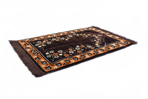 "Al Arabia Ultra Lurex Muslim Prayer Rug - Very Thick Plush Velvet - Floral Design & Fringes On Both Sides - Islamic Prayer Mat - Ideal Gift for Ramadan & Special Occasions, 44 x 27"", Dark Grey - MuslimPrayerRug"