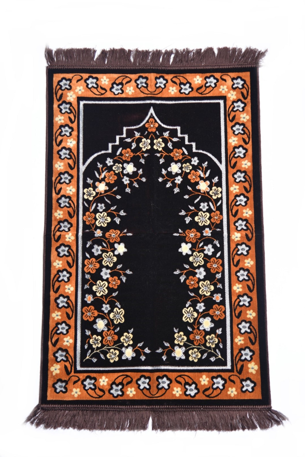 Al Arabia Ultra Lurex Muslim Prayer Rug - Very Thick Plush Velvet - Floral Design & Fringes On Both Sides - Islamic Prayer Mat - Ideal Gift for Ramadan & Special Occasions, 44 x 27