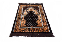 "Load image into Gallery viewer, Al Arabia Ultra Lurex Muslim Prayer Rug - Very Thick Plush Velvet - Diamond Design & Fringes On Both Sides - Islamic Prayer Mat - Ideal Gift for Ramadan & Special Occasions, 44 x 27"", Dark Grey - MuslimPrayerRug"