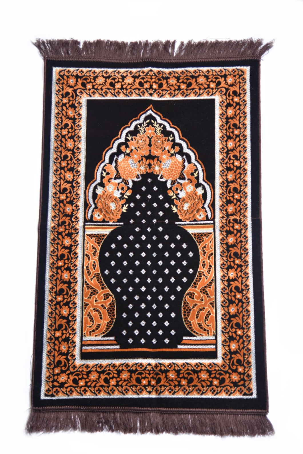 Al Arabia Ultra Lurex Muslim Prayer Rug - Very Thick Plush Velvet - Diamond Design & Fringes On Both Sides - Islamic Prayer Mat - Ideal Gift for Ramadan & Special Occasions, 44 x 27