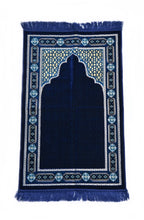 "Load image into Gallery viewer, Al Arabia Ultra Lurex Muslim Prayer Rug - Very Thick Plush Velvet - Islamic Motifs Design & Fringes On Both Sides - Islamic Prayer Mat - Ideal Gift for Ramadan & Special Occasions, 44 x 27"", Blue - MuslimPrayerRug"