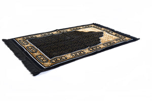 "Al Arabia Ultra Lurex Muslim Prayer Rug - Very Thick Plush Velvet - Islamic Motifs Design & Fringes On Both Sides - Islamic Prayer Mat - Ideal Gift for Ramadan & Special Occasions, 44 x 27"", Black - MuslimPrayerRug"