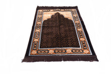 "Load image into Gallery viewer, Al Arabia Ultra Lurex Muslim Prayer Rug - Very Thick Plush Velvet - Islamic Motifs Design & Fringes On Both Sides - Islamic Prayer Mat - Ideal Gift for Ramadan & Special Occasions, 44 x 27"", Dark Grey - MuslimPrayerRug"