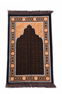 "Al Arabia Ultra Lurex Muslim Prayer Rug - Very Thick Plush Velvet - Islamic Motifs Design & Fringes On Both Sides - Islamic Prayer Mat - Ideal Gift for Ramadan & Special Occasions, 44 x 27"", Dark Grey - MuslimPrayerRug"