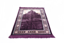 "Load image into Gallery viewer, Al Arabia Ultra Lurex Muslim Prayer Rug - Very Thick Plush Velvet - Islamic Motifs Design & Fringes On Both Sides - Islamic Prayer Mat - Ideal Gift for Ramadan & Special Occasions, 44 x 27"", Purple - MuslimPrayerRug"