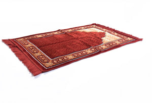 "Al Arabia Ultra Lurex Muslim Prayer Rug - Very Thick Plush Velvet - Islamic Motifs Design & Fringes On Both Sides - Islamic Prayer Mat - Ideal Gift for Ramadan & Special Occasions, 44 x 27"", Red - MuslimPrayerRug"