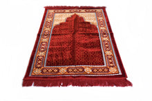 "Load image into Gallery viewer, Al Arabia Ultra Lurex Muslim Prayer Rug - Very Thick Plush Velvet - Islamic Motifs Design & Fringes On Both Sides - Islamic Prayer Mat - Ideal Gift for Ramadan & Special Occasions, 44 x 27"", Red - MuslimPrayerRug"