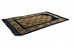 "Al Arabia Ultra Lurex Muslim Prayer Rug - Very Thick Plush Velvet - Square Motifs Design & Fringes On Both Sides - Islamic Prayer Mat - Ideal Gift for Ramadan & Special Occasions, 44 x 27"", Black - MuslimPrayerRug"