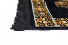 "Load image into Gallery viewer, Al Arabia Ultra Lurex Muslim Prayer Rug - Very Thick Plush Velvet - Square Motifs Design & Fringes On Both Sides - Islamic Prayer Mat - Ideal Gift for Ramadan & Special Occasions, 44 x 27"", Black - MuslimPrayerRug"