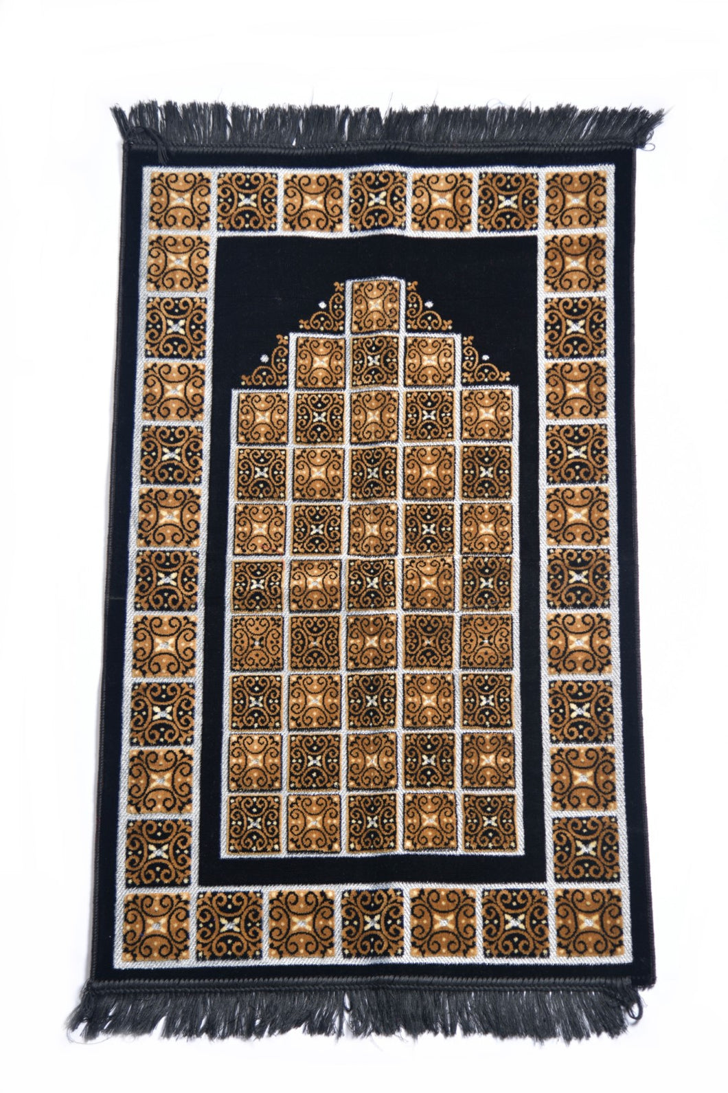Al Arabia Ultra Lurex Muslim Prayer Rug - Very Thick Plush Velvet - Square Motifs Design & Fringes On Both Sides - Islamic Prayer Mat - Ideal Gift for Ramadan & Special Occasions, 44 x 27