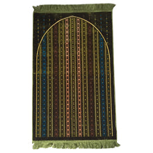 Load image into Gallery viewer, Al Arabia Muslim Prayer Rug - Made from Embossed Velvet - Features Stripes Design Green