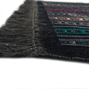 Al Arabia Muslim Prayer Rug - Made from Embossed Velvet - Features Stripes Design Black - MuslimPrayerRug