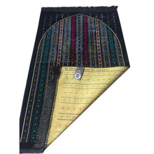 Load image into Gallery viewer, Al Arabia Muslim Prayer Rug - Made from Embossed Velvet - Features Stripes Design Black - MuslimPrayerRug