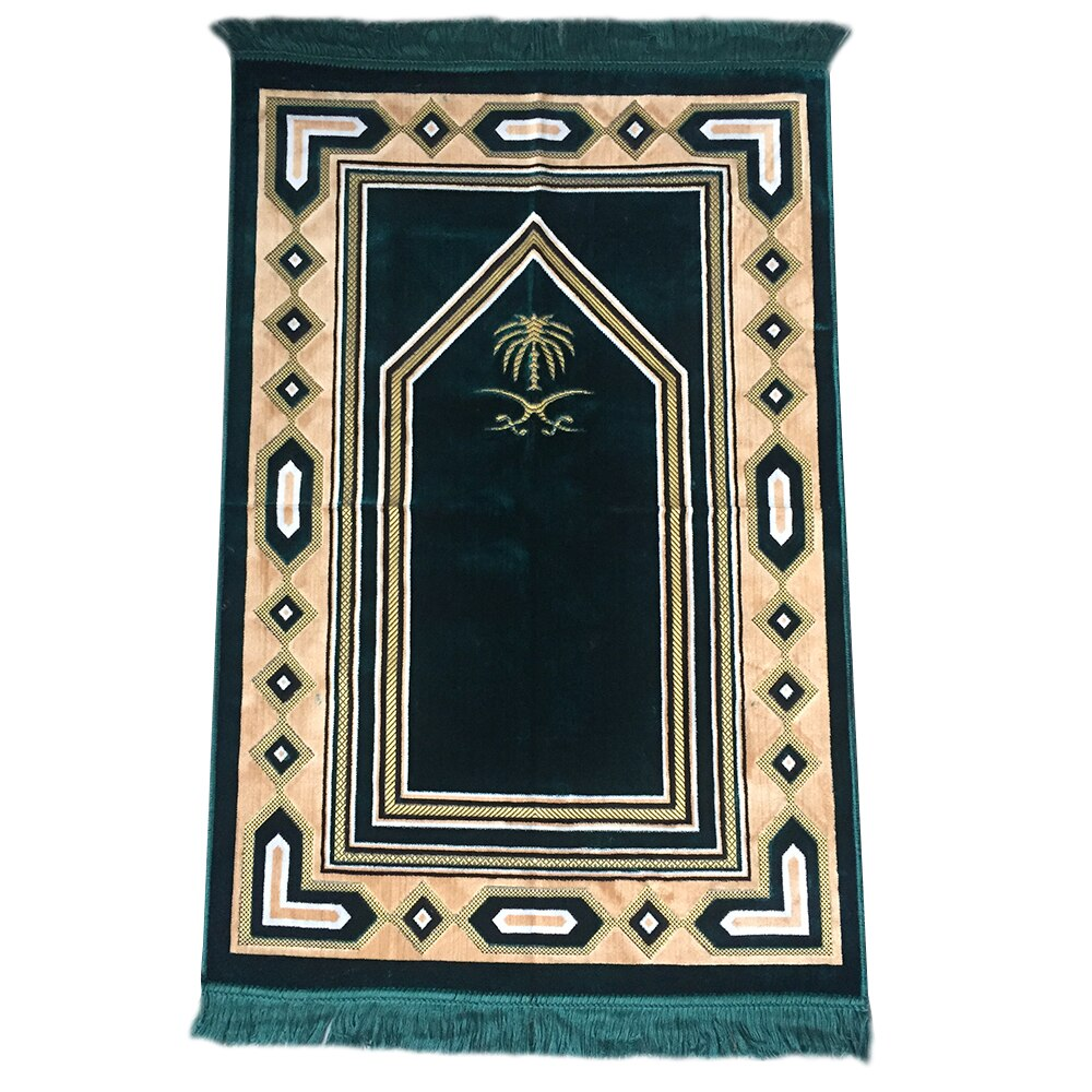 Al Arabia Muslim Prayer Rug - Soft Plush Velvet Fabric - Turkish Zulfiqar Design Dark Green - MuslimPrayerRug