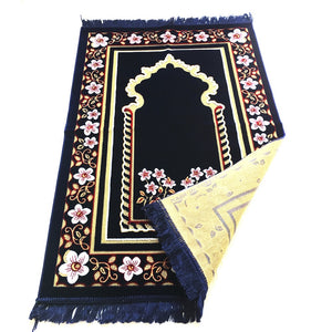 Double Turkish Islamic Prayer Rug Plush Velvet Prayer Mat Large Size - Floral Dark Blue Design - MuslimPrayerRug