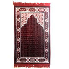 Load image into Gallery viewer, Ultra Lurex Turkish Islamic Prayer Rug Plush Velvet Prayer Mat Very Thick - Featuring Red Design - MuslimPrayerRug