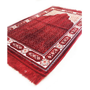 Ultra Lurex Turkish Islamic Prayer Rug Plush Velvet Prayer Mat Very Thick - Featuring Red Design - MuslimPrayerRug