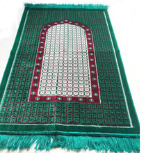 Load image into Gallery viewer, Ultra Lurex Turkish Islamic Prayer Rug Plush Velvet Prayer Mat Very Thick - The Gate Green Design - MuslimPrayerRug