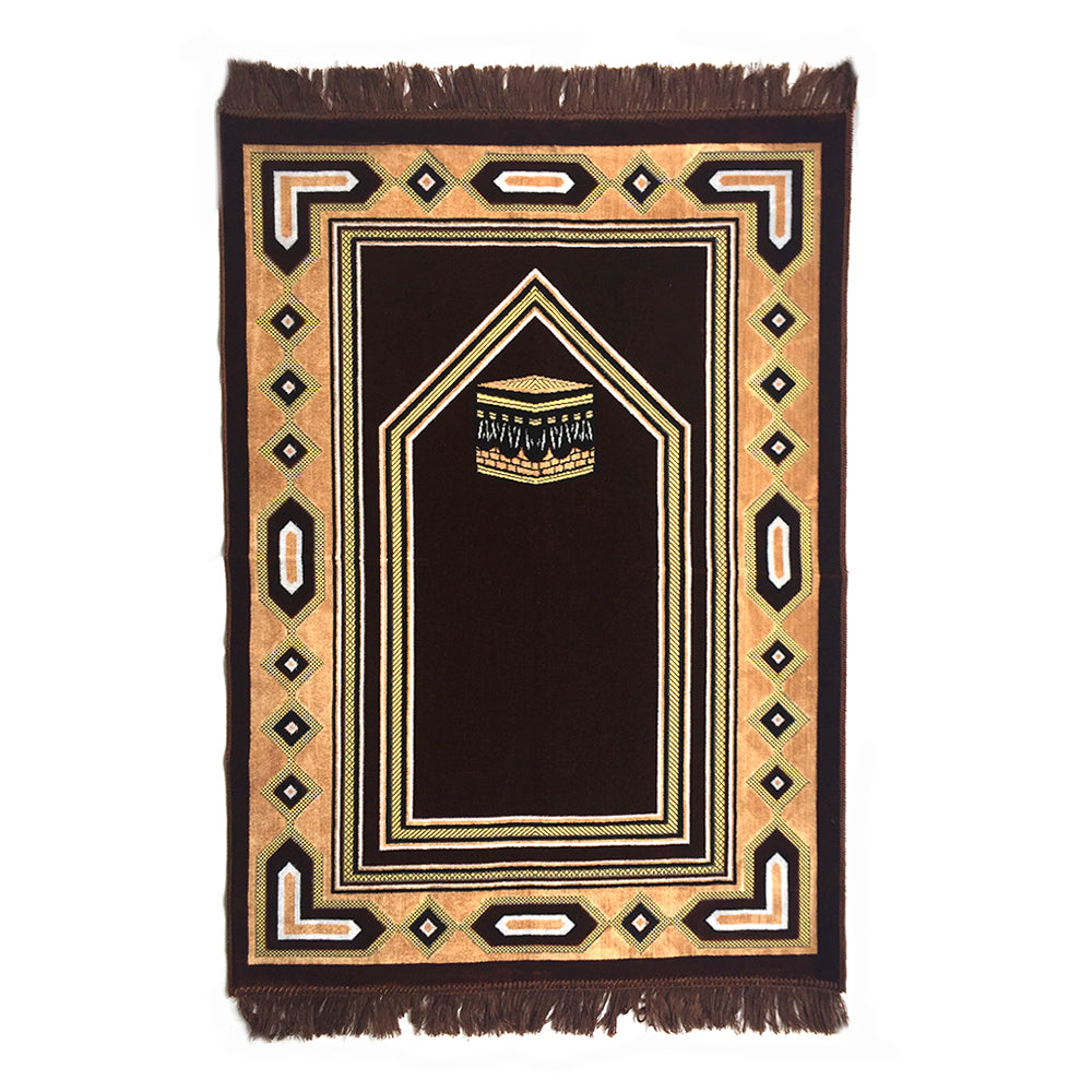 Al Arabia Muslim Prayer Rug - Double Soft Plush Velvet Fabric - Turkish Kaaba Design Brown - MuslimPrayerRug