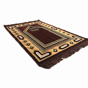 Al Arabia Muslim Prayer Rug - Double Soft Plush Velvet Fabric - Turkish Kaaba Design Brown