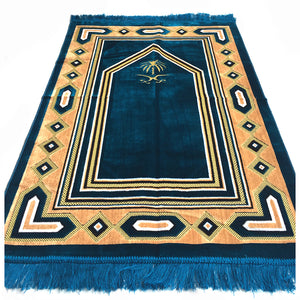 Al Arabia Muslim Prayer Rug - Soft Plush Velvet Fabric - Turkish Zulfiqar Design Turquoise - MuslimPrayerRug
