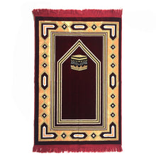 Load image into Gallery viewer, Al Arabia Muslim Prayer Rug - Double Soft Plush Velvet Fabric - Turkish Kaaba Design Red - MuslimPrayerRug