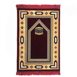 Al Arabia Muslim Prayer Rug - Double Soft Plush Velvet Fabric - Turkish Kaaba Design Red - MuslimPrayerRug