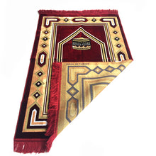 Load image into Gallery viewer, Al Arabia Muslim Prayer Rug - Double Soft Plush Velvet Fabric - Turkish Kaaba Design Red