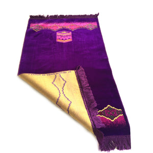 Turkish Islamic Prayer Rug Plush Velvet Janamaz Prayer Mat - Kaaba Design Purple - MuslimPrayerRug