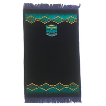 Load image into Gallery viewer, Turkish Islamic Prayer Rug Plush Velvet Janamaz Prayer Mat - Kaaba Design Turquoise Blue - MuslimPrayerRug